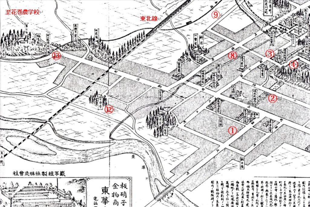大正9年花巻町俯瞰図(西)